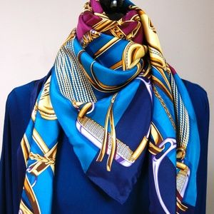 Gucci Equestrian Purple Blue Silk Scarf